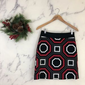 Ann Taylor Geometric Embroidered A-Line Skirt